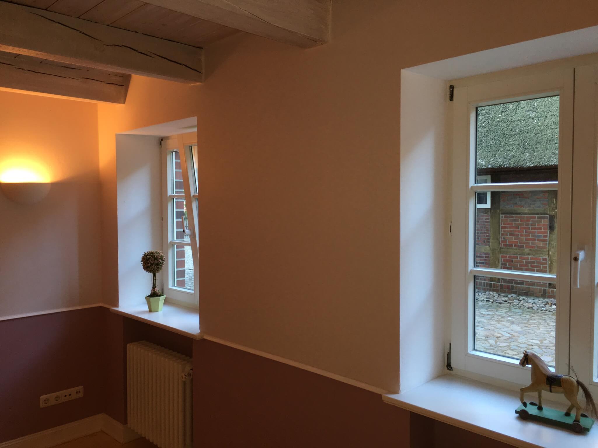 Fenster mit Ausblick auf das reetgedeckte Bauernhaus