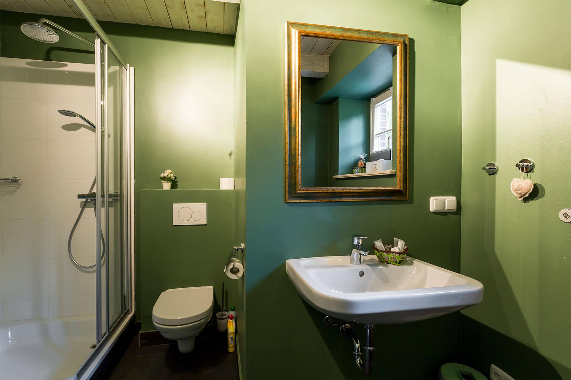 Glasduschkabine, WC und Waschbecken der Ferienwohnung Moritz