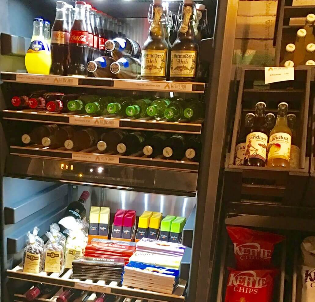 Beverages and wines, chocolates and chips displayed deliciously