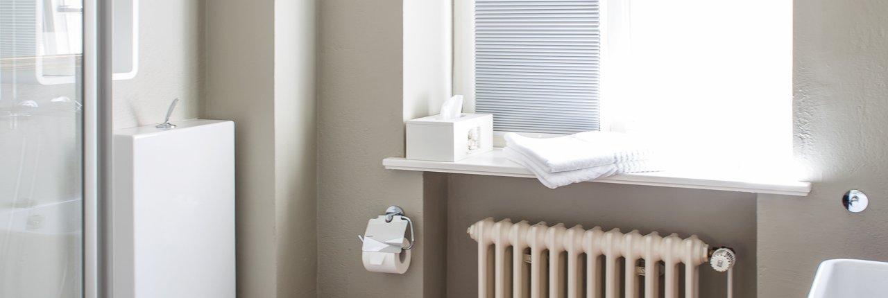 Designer WC und Blick aus dem Bad nach draußen